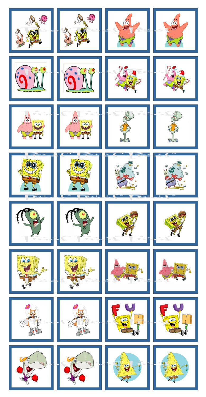 spongebob digital memory game birthday party cupcake topper