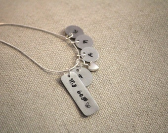 Mothers necklace. Hand stamped mother son jewelry My boys charm necklace Sterling Silver~ Grandmothers jewelry ~Mothers day gift