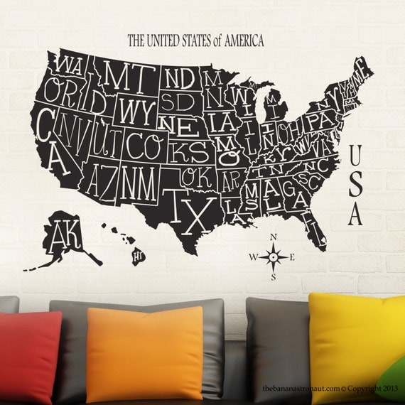 us map wall decal sticker travel modern decor easy removable sticker made in usa from. Black Bedroom Furniture Sets. Home Design Ideas