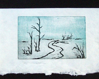 Winter in the Lauterbrunnen Valley - original etching - soft ground - soft ground etching - engraving - etching - limited edition 30