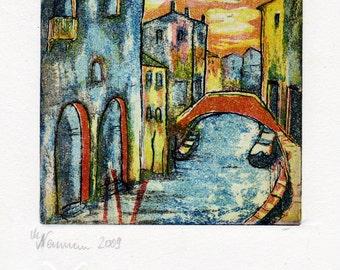 Venice - Serenissima original etching - wall decoration - limited edition prints - miniature-