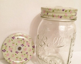 0.75 SALE!! Floral Mason Jar Lid, country