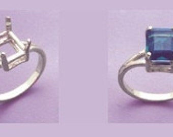 Sterling Silver ~ 14x10mm  Emerald Ring setting ~ Custom sized from size 4 to size 12  ~ to be ordered ~ #472 ~  FDK