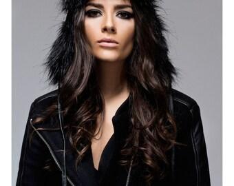 Faux Leather hat / Black earflap hat / aviator hat / minimalist hat / avant garde hat / vegan Leather hat