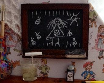 Miniature Blackboard customizable 1:12 scale Dolls House