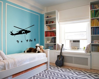 Helicopter Boy Room Wall Art Sticker Decal nm037