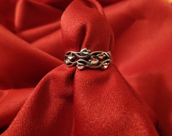 Sterling Silver Woven Flowers Ring