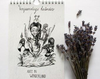 Alice in Wonderland birthdaycalender, Muurkalender, illustrated birthdaycalender