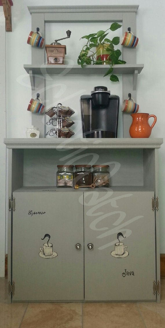 Items similar to coffee bar shabby chic coffee station tea for Coffee station furniture