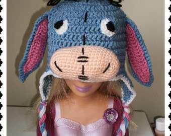 Eeyore Crochet Hat Made with Soft yarn