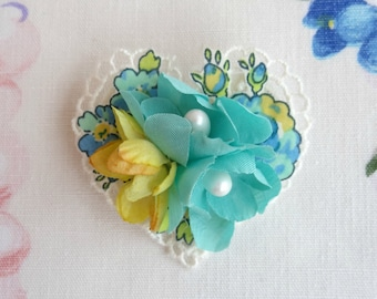 Pretty Floral & Lace Heart Shaped Brooch, Fabric flower brooch