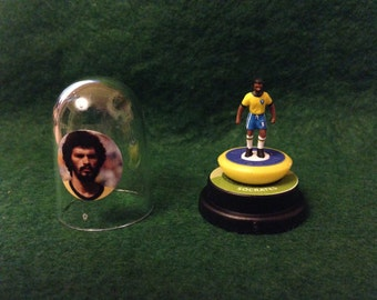 Socrates (Brazil)  - Hand-painted Subbuteo figure housed in plastic dome.