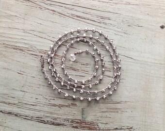 Boho beachwrap bracelet or necklace Boho Beach Glam/ Beach jewelry/waterproof/versatile/essential silver