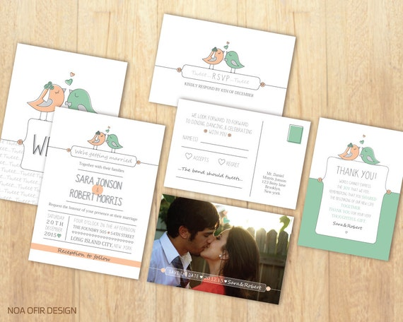 Bird Wedding Invitation: Birds Wedding Invitation Set Love Birds Invitation Peach And