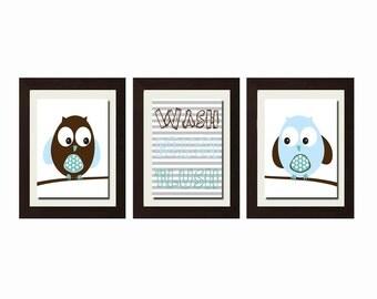 Owl Bathroom Decor, Owl Bathroom Set, Wash Brush Flush, Bathroom Rules, Boy Bathroom Decor, Bathroom Wall Art, Bathroom Wall Art