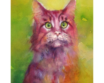 Marsala Cat Watercolor painting. Archival print.  Nature or Animal Illustration. Marsala and Green.