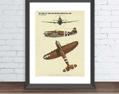 Second world war airplane print.Mustang Thunderbolt p-47 aircraft vintage reproduction on paper. Wall art.Cool Room Art.  Buy 3 Get 1 Free