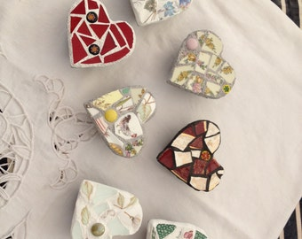 Vintage china & stained glass mosaic hearts