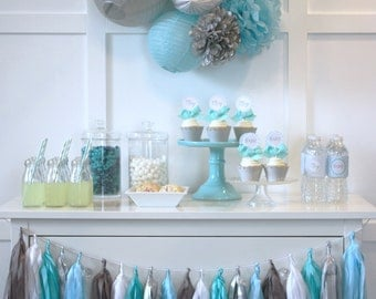 Baby Shower In A Box. Complete party package for a boy baby shower.