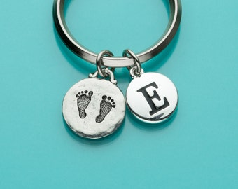 Baby Footprints Keychain, Baby Feet, Baby Footprints Key Ring, Baby Memento, Initial Keychain, Personalized Keychain, Custom Keychain, 23