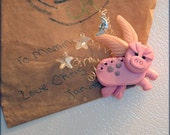 Cute Flying Pink Pig Magnet with Dangling Stars and Moon Charms, Hand Sculpted Clay and Wire Farm Animal with Angel with Wings