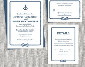 Nautical Wedding Invitation Set, DIY Printable Anchor Wedding Suite ... Classic, and Elegant ▷ Printable Files {or} Printed & Shipped