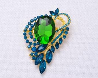 Blue Green Crystal Rhinestone Brooch Wedding Brooch Blue Green Bridal Jewelry  Crystal Wedding Brooch