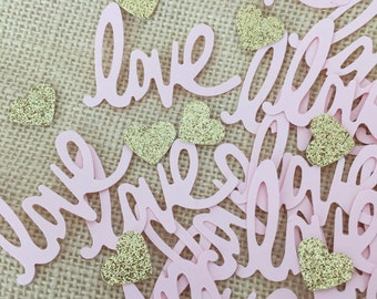 Blush Pink and Gold Glitter Confetti,Pink Love Confetti,Gold Glitter Confetti,Weddings,Bridal Shower,Baby Shower,Glitter Hearts,Table Decor