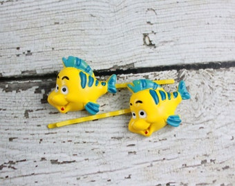 Flounder Bobby Pins - Retro Bobby Pins - 90's Kid Bobby Pins - Yellow Bobby Pins - Fish Bobby Pins - Mermaid Bobby Pins - Best Friend Gift
