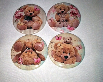 Set of 4 Cuddly Teddy Bear Pocket Mirrors, Party favor, Baby Shower gift, Compact Mirror, Small gift