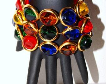 """Anne Klein Exquisite Gold tone vintage Multi-color 8"""" Bracelet."""