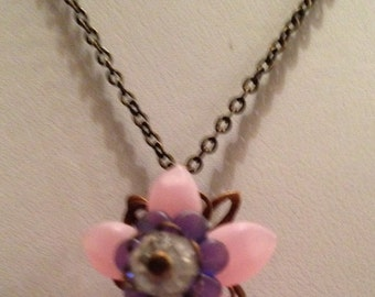 Delicate pink flower necklace and earrings