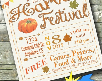 Harvest Festival ~ FALL FEST ~ Church or Community Event ~ 5x7 Invite ~ 8.5x11 Flyer ~ 11x14 Poster ~ 300 dpi Digital Invitation