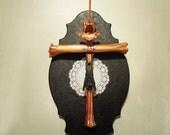 Taxidermy Bat Mount, Bone Art, Crucifix, Curiosity, Oddity