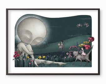 Moon Art - The Dead Moon - illustration fine art print - includes the MINI STORY BOOK of the fairytale folklore moon witches cats