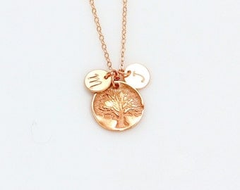 Personalized Family Tree Necklace, Gold Initial Circle Charm Necklace, Rose Gold Tree of Life Necklace, Grandma, Silver Mothers Necklace