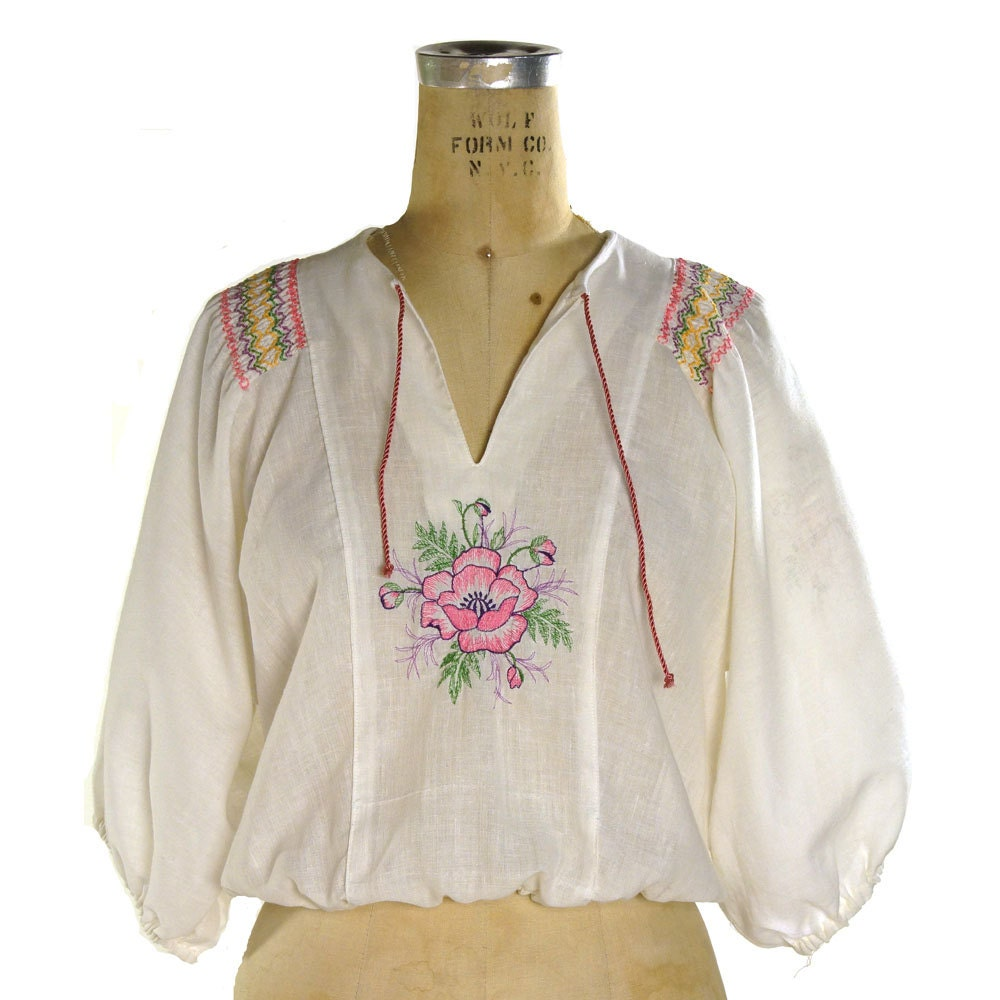 German Peasant Blouse Chiffon Blouse Pink