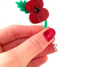 Glitter Acrylic Poppy Brooch Stick Pin Badge Royal British Legion Appeal