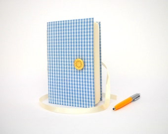 Blue journal notebook Squares journal notebook diary Handmade writing journal with lined paper, squares fabric,newborn gift, new mom gift,