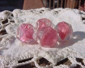 Rose Pink Givre Vintage Glass Beads