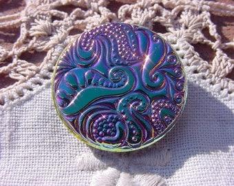 Metallic Iridescent Paisley Swirls Czech Glass Button