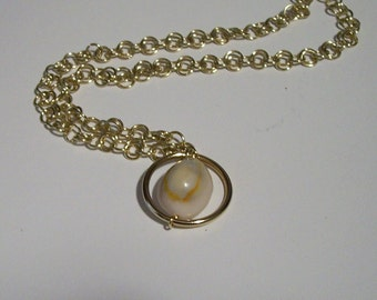 Unique Spring Summer Beachwear Cowrie Shell Necklace with Goldtone Chain