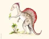 Dinosaur art  print, Dinosaur painting, S is for Spinosaurus,  Dinosaur illustration, Boys nursery, Nursery wall art, Boys room decor