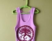 Shiva ribbed hand painted batik Eco friendly yoga cotton ribbed tank tops and tees women pink mauve
