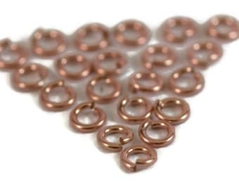 20 Rose Gold Rings, Small Rose Gold Filled 4mm Open Jump Rings, Twenty Count, 20 Gauge Connectors for Making Jewelry (F 184rf)