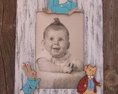 BUNNY RABBIT Baby Picture Frame - Original Hand-Painted Wood