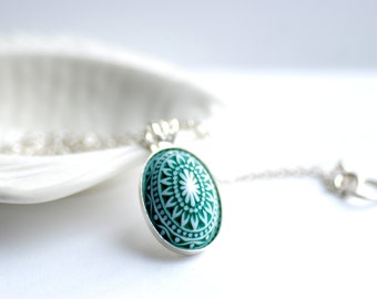 Pendant Necklace, Lucite Jewelry, Scandinavian Design, Pine Green and White, Winter Jewelry, Sterling Silver Chain