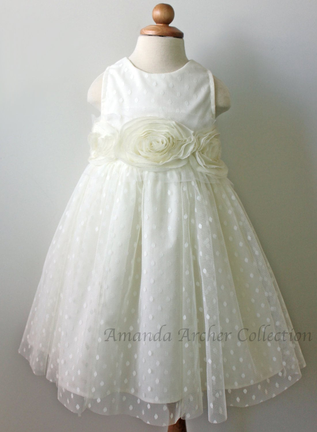 Flower Girl Dress Ivory Dot Tulle by AmandaArcher on Etsy