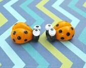 2 Glass Ladybug Beads - Lampwork Ladybug Beads - 16mm Ladybug Beads - Yellow Ladybug - SRA Handmade Lampwork - R