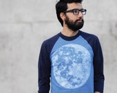 Full MOON mens tshirt, unisex baseball tee, men or women, moon screenprint on American Apparel heather blue, astronomy shirt for him